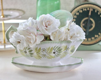 Ceramic Gravy Bowl Quimper Made in France Floral Gravy Bowl