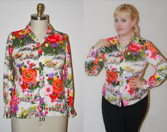70s Pink Floral Disco Blouse Top Shirt, Novelty Print Secretary Button Up Long Sleeve Plus, Size 12  L Large