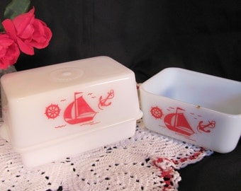 McKee Covered Butter Dish / McKee Milk Glass Butter Dish and Refrigerator Dish / Nautical Sailboats