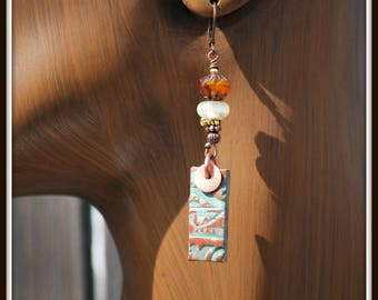 Clay Earrings, Stoneware Earrings, Terra Cotta Earrings, Green Clay Earrings, Rustic Earrings, Green and Copper Earrings