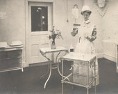 "Vintage Photo ""Cautious Nurse"" RN Nurse Uniform Cap Reflection Doctor's Office RPPC Found Vernacular Photo Social History"