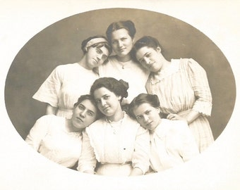"Vintage Photo ""Old Fashioned Girls"" Victorian-Era Pretty Girls Oval Photo Antique White Dresses Real Photo Postcard RPPC"