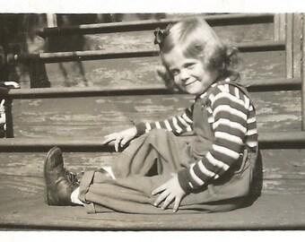 "Vintage Snapshot ""Cutie Pie"" Adorable Little Girl Curly Blonde Hair Overalls Found Photo"