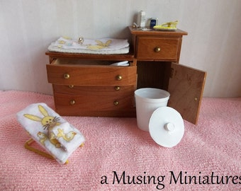 OOAK Vintage Style Dressed Baby Changing Table Set in 1:12 Scale for Dollhouse Miniature Nursery Roombox