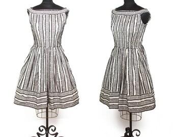 1950s 1960s Dress // Black Lace Ribbon Striped Full Skirt Dress