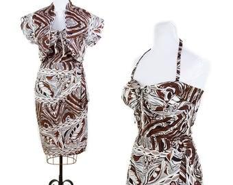 1950s Dress // Kamekameha Hawaiian Halter Sarong Dress with Bolero Grey and Brown Papaya Print