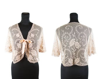 1930s Bed Jacket // Silk Embroidered Net Blush Pink Sheer Tambour Lace Bed Jacket or Bolero