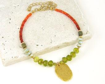 Fire Opal Bracelet, Orange Red Ombre Bracelet, Green Aqua Bead Bracelet, Rustic Gold Charm Bracelet, Rust Gemstone Bracelet |BC1-30