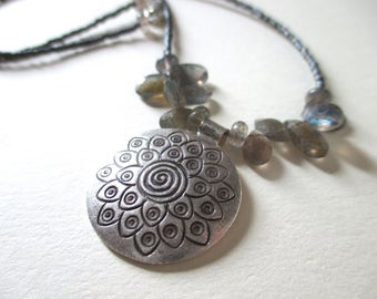 Spiral lotus necklace with labradorite and silver glass beads - labradorite Hill Tribe silver necklace - lotus necklace
