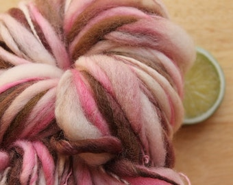 Neapolitan - Handspun Wool Yarn Pink Brown Thick and Thin Skein