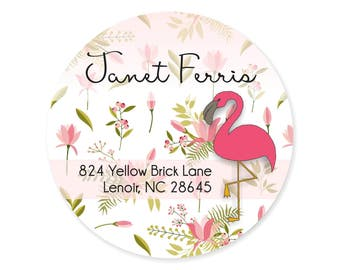 Flamingo Floral Tropical Preppy Address Labels