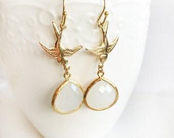 Dangling Bird Earrings, Modern Gold Filled Jewellery, White Teardrop Glass Stone, Bridal, Mother Gift, White Birthstone Long Dangle Earrings