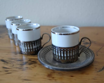 Vintage Veracruz Porcelana Demitasse Cups and Wolff Silver Plated Saucers Made in Brazil Demitasse Cups Saucers from The Eclectic Interior