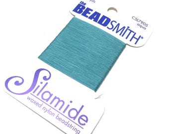 BeadSmith Silamide. Waxed Nylon Bead String. Size A. Stringing Supplies. Beadweaving Thread. Beading Thread. Aqua. 40 yards. One (1).
