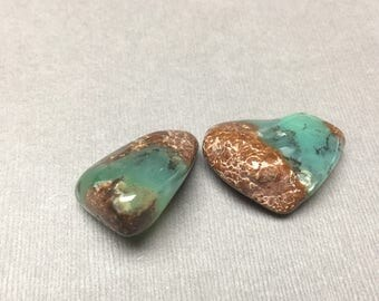 Tumbled Chrysoprase. Green. Brown. Large. Tumbled Stone. Crystal. Wicca. Gemstone Un-drilled. Wire Wrapping. 20mm x 30mm. One (1)