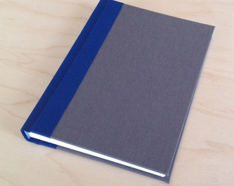 Navy blue and coffee brown hardbound lined journal