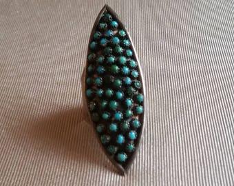 Vintage Sterling silver Turquoise Southwestern Huge Navett Ring