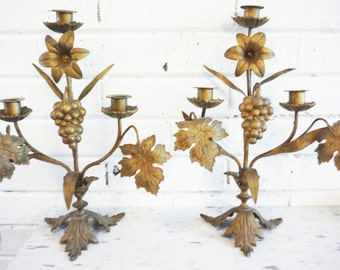 Fancy candle holders grapes winery decor, wine lover French shabby decor pair candelabra centerpiece large candelabra gold tone