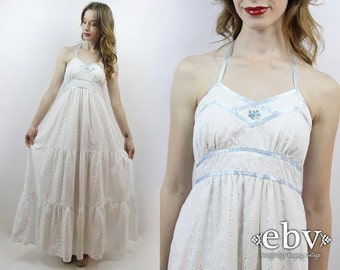 Hippie Wedding Dress Hippy Wedding Dress Boho Wedding Dress White Maxi Dress Eyelet Dress 70s Wedding Dress 1970s Dress White Dress