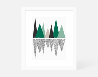 Large Abstract Wall Art Green / Minimalist Geometric Art Print / Vertical Mountain Artwork / 18x24 16x20 11x14 8x10 5x7 / Framed and Matted