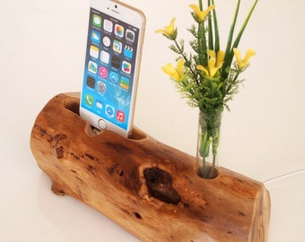 Wooden iPhone Dock - iPhone 5, 6, 7 dock - vase holder - walnut wood - rustic iPhone dock - handmade - Unique gift
