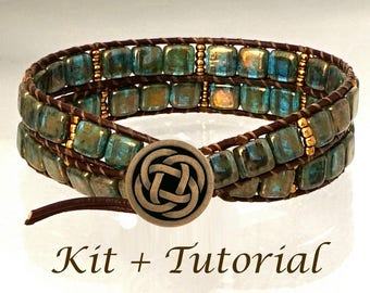 "Wrap Bracelet Kit:  Jewelry making kit with beads, supplies & easy tutorial. ""Deep Forest Mysteries""."