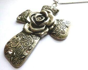 HUGE Etched Silvertone Rhinestone Rose Cross, Vintage Heavy Metal Rose Silvertone Cross, Silvertone XL Cross, Silver Rose Cross with Chain