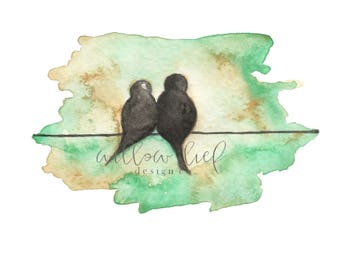 Love Birds on a Wire, birds watercolor, bird art, Watercolor print, watercolor birds, love, romance