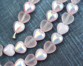 6mm Pink Hearts beads MIX, Matte Pink, AB finish, Czech Glass pressed pink beads, luster - 40pc - 0918