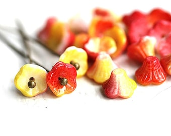 Small flowers, Yellow, Orange, Red, flower beads, czech glass flower cups, pressed beads 7x5mm - 25Pc - 2317