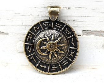 Zodiac pendant bead, Sun and Moon, Antique Brass Horoscope pendant, Astrology, Greek metal casting - F416