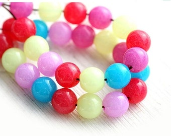 30%OFF SALE Round beads mix, Multicolor, bright beads, DIY kids, druk, Czech glass, round spacers, glass beads - 6mm - 50Pc - 2133