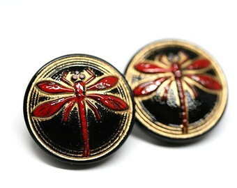 18mm Black and Red Dragonfly Czech Glass Button, Black and Gold Handmade Button bead, size 8, 1pc - 0303