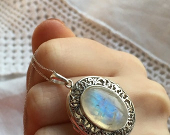 Moon Beams Sterling Silver & Moonstone Poison Locket