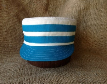 """Natural cotton twill boxcap with cotton teal bands, 2"""" visor, cap made to any size. Cotton sweatband."""