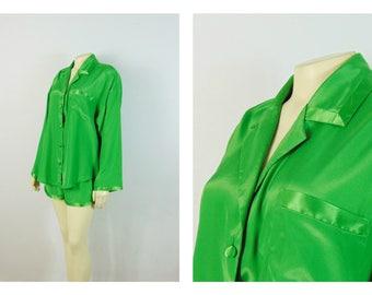 Vintage Robe 90s Victoria's Secret Shorts Pajamas Green Matte & Shiny Satin Size Medium