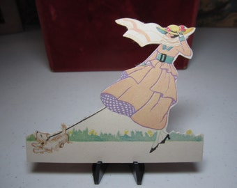 Unused 1910's-20's Chas. S. Clark die cut place card fancy dressed edwardian lady walking her terrier dog caught in the wind