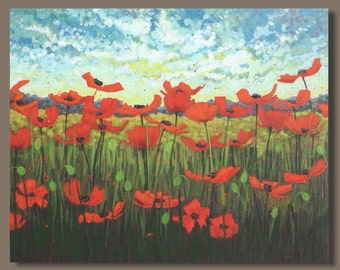 FREE SHIP red poppies landscape, large abstract painting, semi abstract poppy field painting, flowers, impressionist art, wall art on canvas