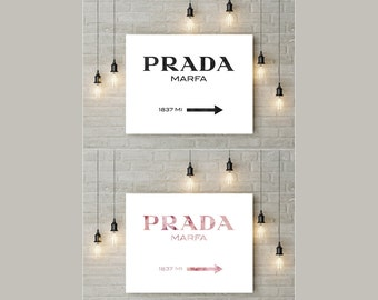 Prada Marfa, 2 for the price of 1, Prada Marfa Print, Prada Poster, Watercolor Print, Chic Classy Home Decor, Prada Sign, Instant Download