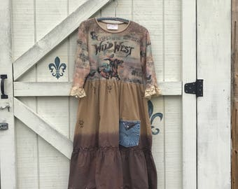 Rustic dress L, horse theme, Western Ranch, Gypsy cowgirl, by ShabyVintage