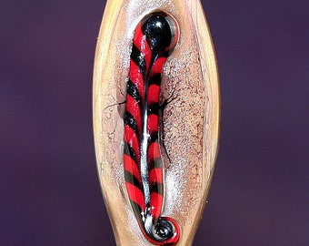 Feather and Fawn Handmade Lampworked Glass Bead OOAK Fawn Brown Black Red Twisted Cane Shield Focal Lampwork