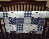 Little Man Moose Patchwork Fabric Baby Blanket or Quilted Comforter- Moose, Pine tree, Lodge, Mint Navy Buffalo Check, Woodgrain, Woodland