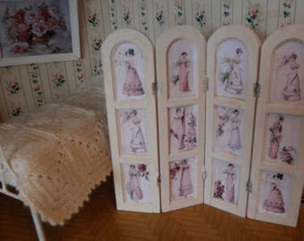 Dollhouse shabby folding screen rom divider French style