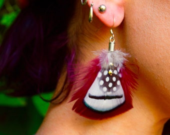 BURGUNDY BEAUTY  Feather Earrings SALE