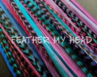 """Feather Hair Extensions - Do It Yourself (DIY) Kit - 16 Pc Thin Feathers - Medium Long 7"""" -9"""" (18-23cm) Pink Purple Blue - Beach Party"""