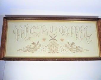 Antique Cream White Linen Welcome Sampler - Welcome Pineapple Sign Sampler