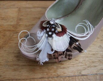 "Bridal Peacock Pheasant Feathers Shoe Clips Cream White Brown Nudes ""Gem"" Wedding Bridesmaids Rustic Barn Countryside Woodland Theme Wedding"