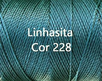 Linhasita Turquoise cor 228, Waxed Polyester Macrame Cord/ Hilo/ String