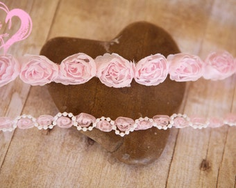 Pretty in Pinks Set of 2 Headties w Shabby Chic Roses Pearl Swirls Baby's 1st Photos Soft Pinks Blush Pinks Perfection*Ships free