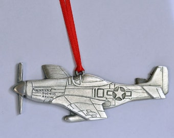 Airplane P-51 Mustang fighter Pewter Christmas Ornament. Made in USA